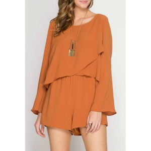 SHE + SKY Caramel Long Sleeve Jumpsuit NEW, Size M